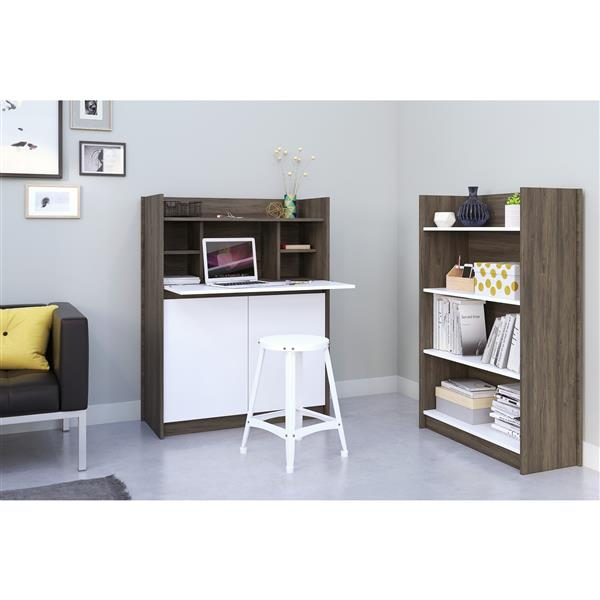 Nexera Chrono Contemporary Bookcase -  4 Shelves - Grey/White