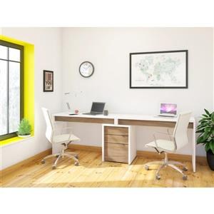 Liber-T Home Office Set - 3 Pieces - White/Walnut