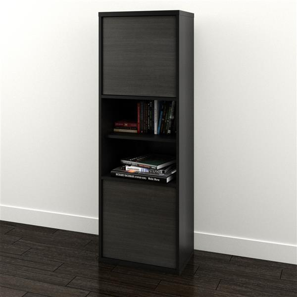 Nexera Sereni-T Contemporary Bookcase - 2-Doors - Black/Ebony