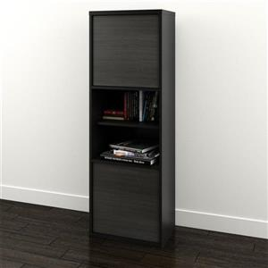 Sereni-T Contemporary Bookcase - 2-Doors - Black/Ebony