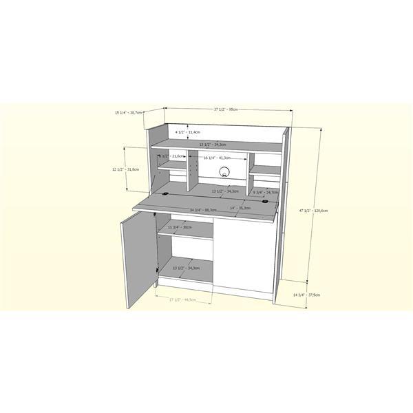 Nexera Chrono Contemporary Secretary Desk - Grey/White
