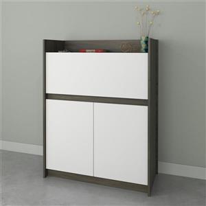 Chrono Contemporary Secretary Desk - Grey/White