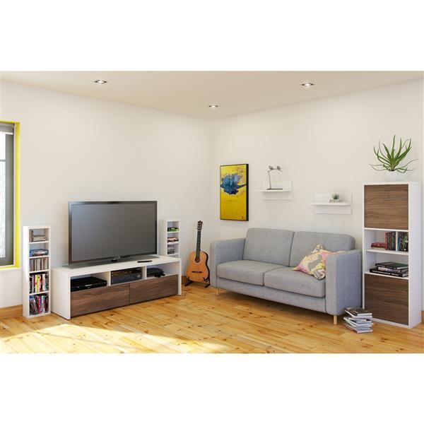 Nexera Liber-T Contemporary Bookcase - 2-Doors - White/ Walnut