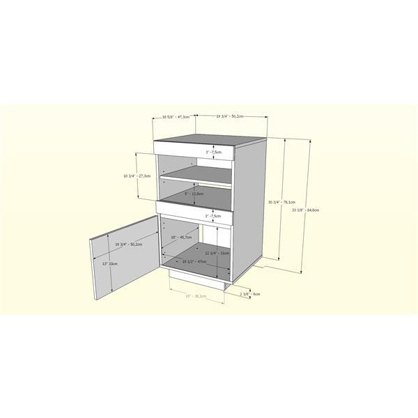 Nexera Lima Audio Tower - 1-Door - Wood -  Bark Grey/Black