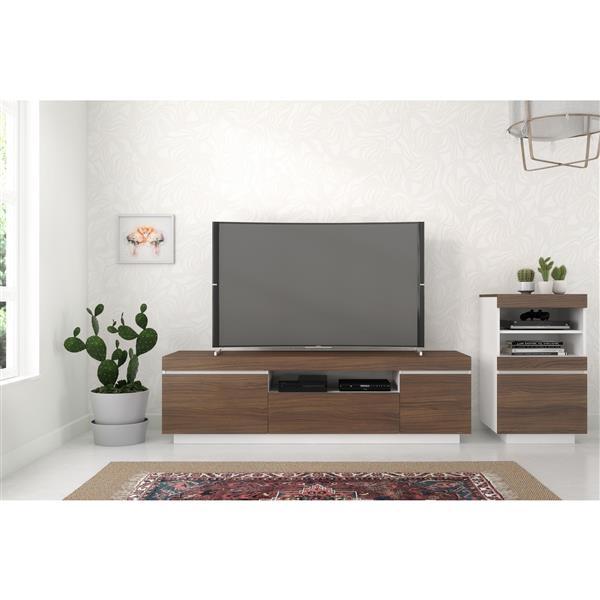 Nexera Cali TV Stand - 68-in - Walnut/White