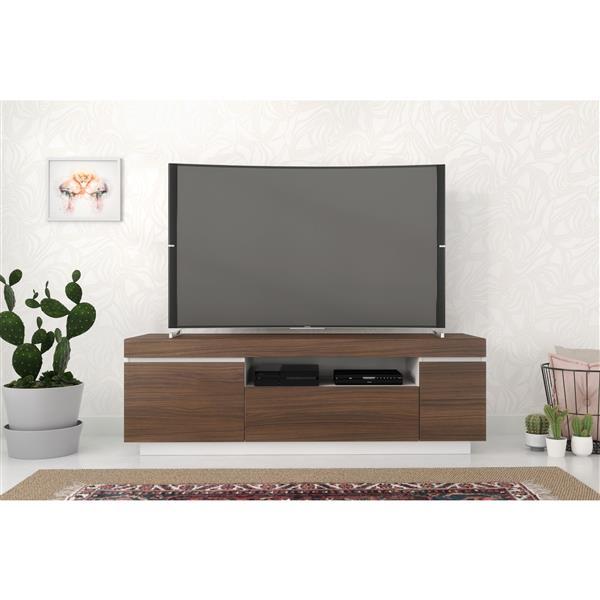 Nexera Cali TV Stand - 60-in - Walnut/White