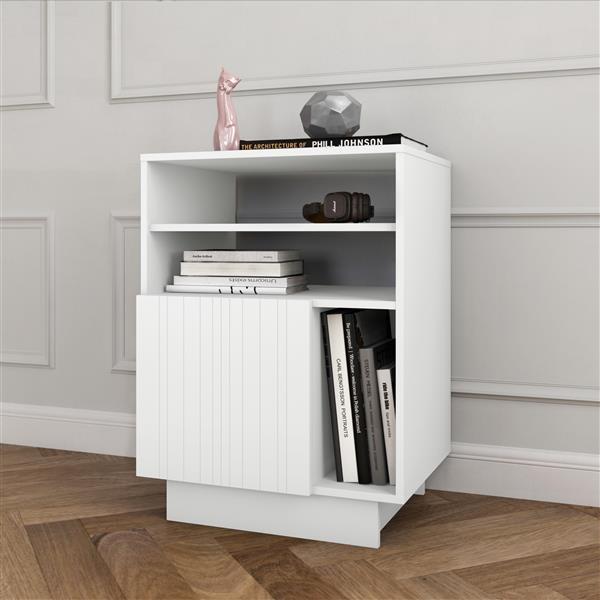 Nexera® Marble Audio Tower - 1-Door - Wood - White