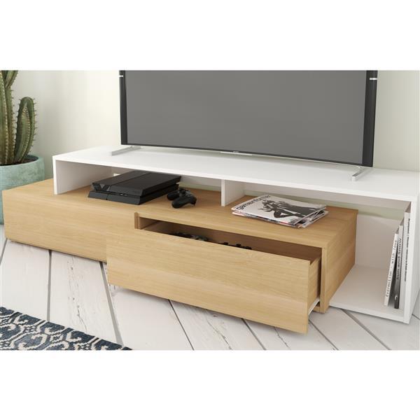 Nexera TV Stand - 72-in - Wood - Natural Maple/White