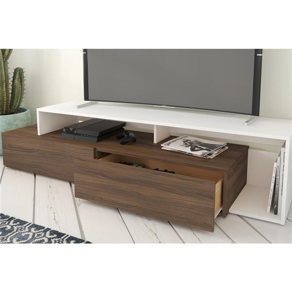 Nexera TV Stand - 72-in - Wood - Walnut/White