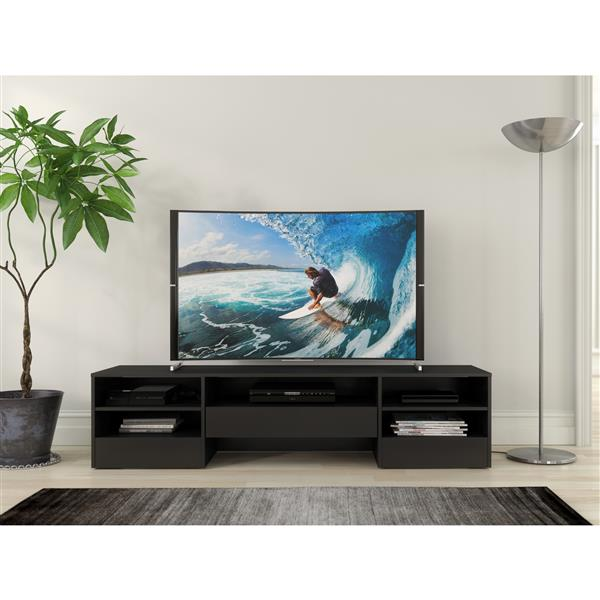 Nexera Rustik TV Stand - 72-in - 1-Drawer - Wood - Black