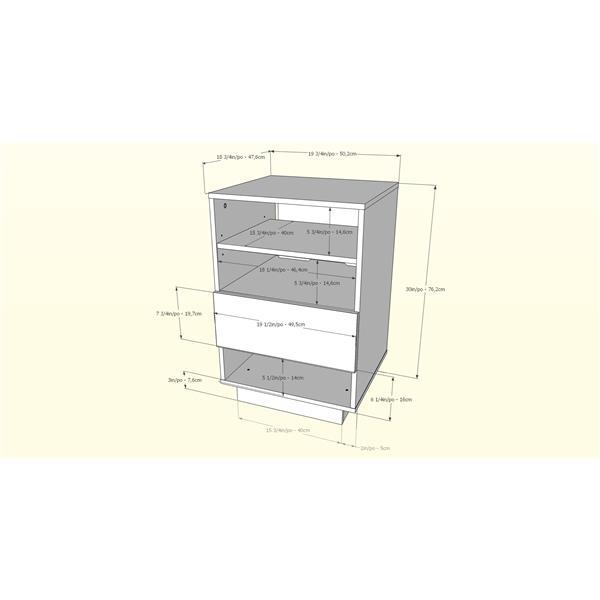 Nexera Stereo Audio Tower - 1-Drawer - Wood - Truffle