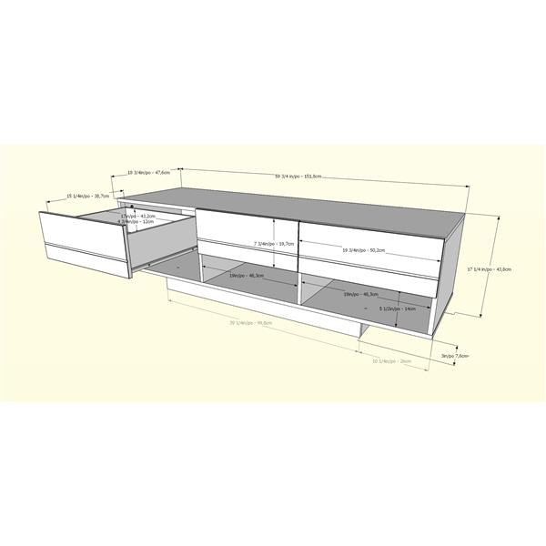 Nexera Rustik TV Stand - 60-in -  Wood - Bark Grey/White