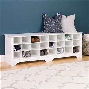 Prepac Shoe Storage Cubby Bench - 24 pair - White - 60-in