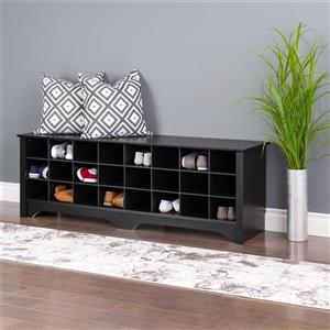 Prepac Shoe Storage Cubby Bench - 24 pair - Black - 60-in