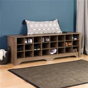 Prepac Shoe Storage Cubby Bench - 24 pair - Drifted Grey - 60-in