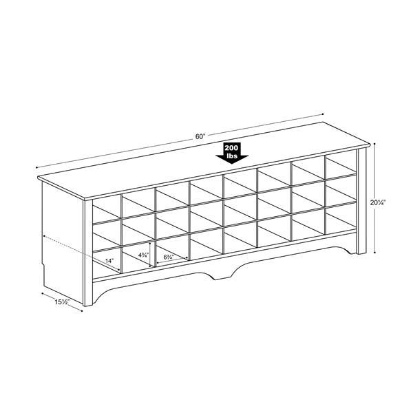 Prepac Shoe Storage Cubby Bench - 24 pair - Espresso - 60-in