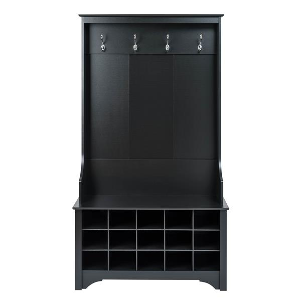 Prepac Hall Tree with Shoe Storage - Black - 38-in x 68-in