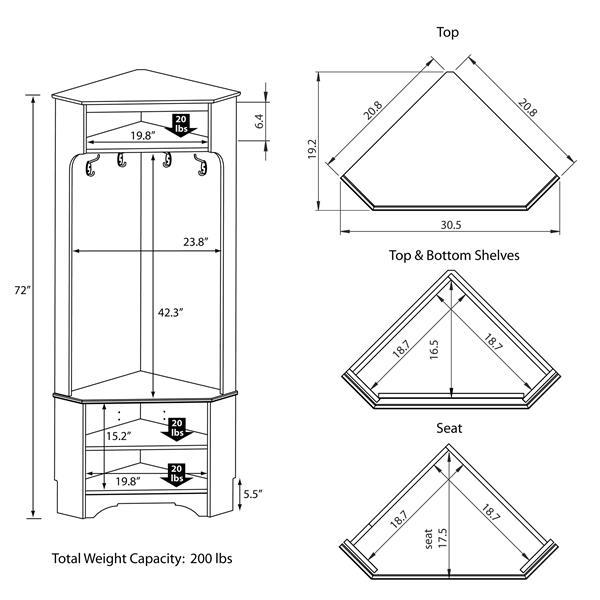 Prepac Corner Hall Tree - White - 30.5-in x 72-in