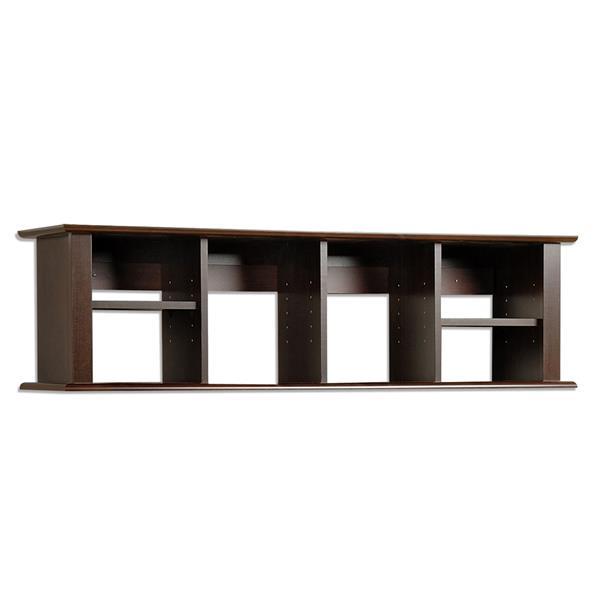 Prepac Wall Mounted Desk Hutch - Espresso - 48-in x 13-in