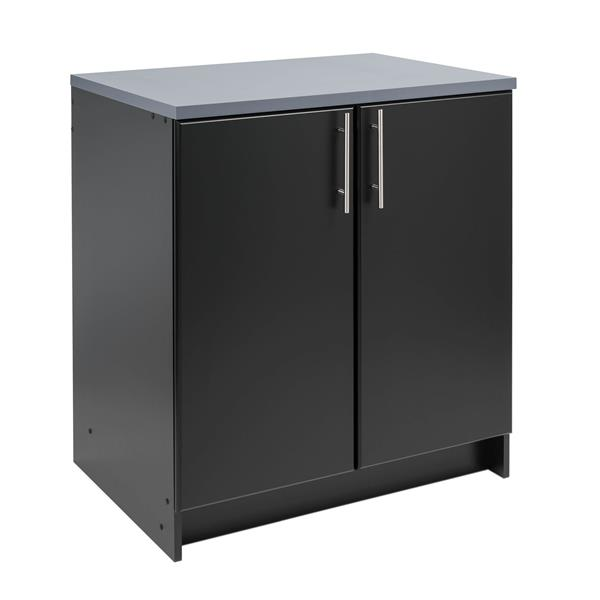 Prepac Elite Base Cabinet 2-Door - Black / Grey - 32-in W x 36-in H x 24-in D
