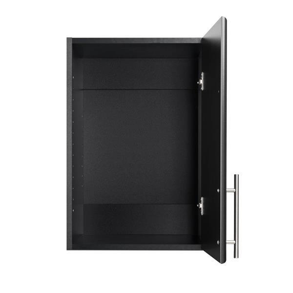 Prepac Elite Stackable Wall Cabinet - 1-Door - Black - 16-in