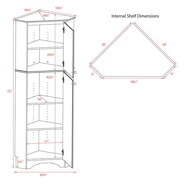 Prepac Elite Tall 2-Door Corner Storage Cabinet - Black - 29-in x 72-in