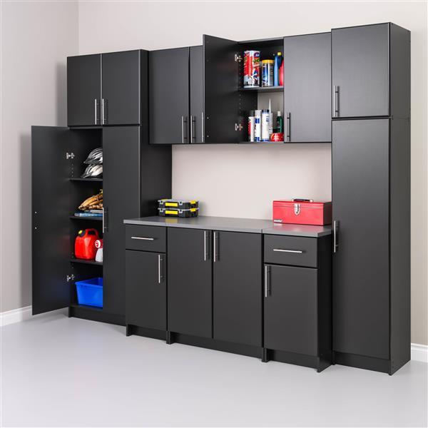 Prepac Elite Narrow Cabinet - 1-Door - Black - 16-in W x 65-in H