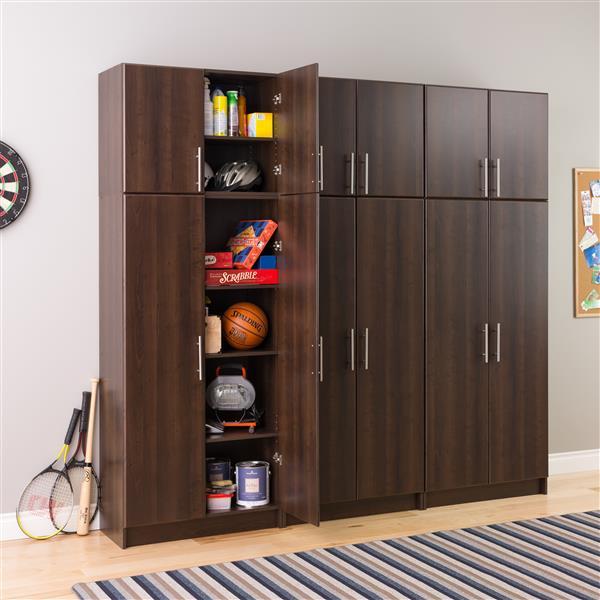 Prepac Elite Storage Cabinet - 2-Door - Espresso - 32-in W x 65-in H
