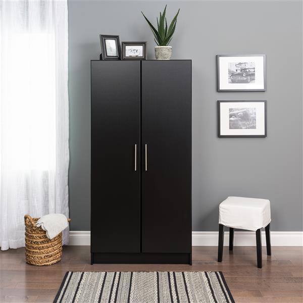 Prepac Elite Wardrobe Cabinet - Black - 32-in W x 65-in H x 20-in D