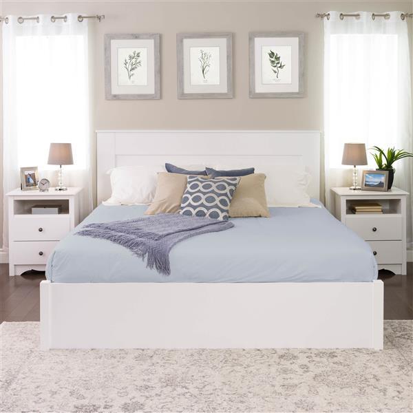 Tête de lit à panneau plat pour très grand lit,  blanc