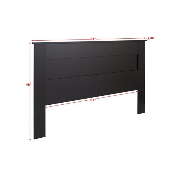 Tête de lit à panneau plat pour très grand lit, noir