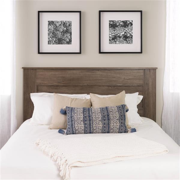 Tête de lit à panneau plat pour grand lit, gris vieilli