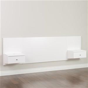 Tête de lit flottante grand lit avec tables de nuit, blanc