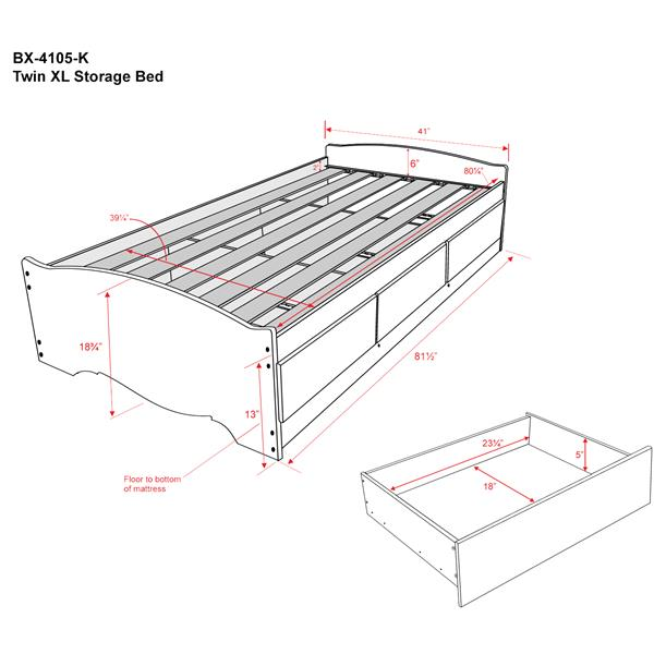 Prepac Twin Mate's Platform Storage Bed with 3 Drawers - Espresso