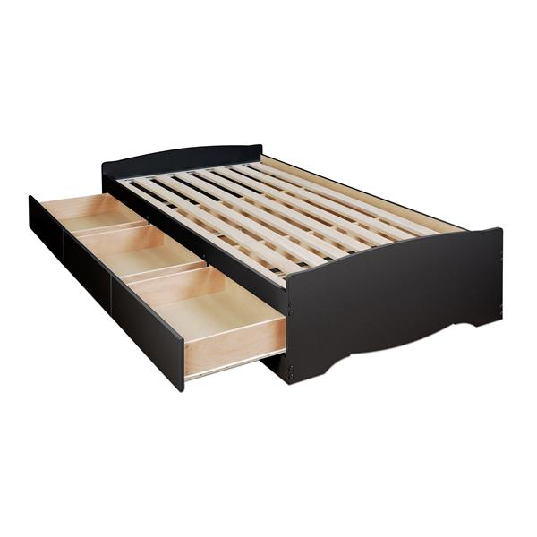 Prepac Twin XL Mate's Platform Storage Bed with 3 Drawers, Black
