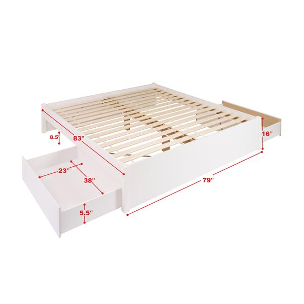 Prepac Select Platform Bed with 2 Drawers - White - King