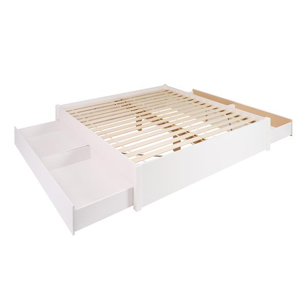 Prepac Select Platform Bed with 4 Drawers - White - King