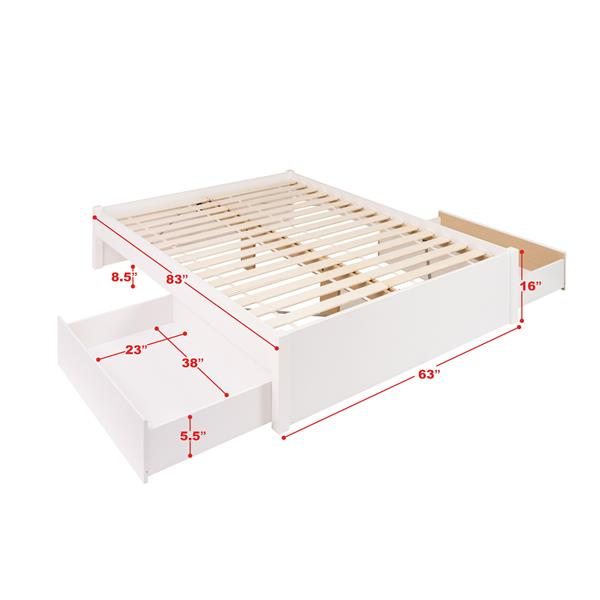 Prepac Select Platform Bed with 2 Drawers - White - Queen