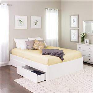 Prepac Select Platform Bed with 4 Drawers - White - Queen