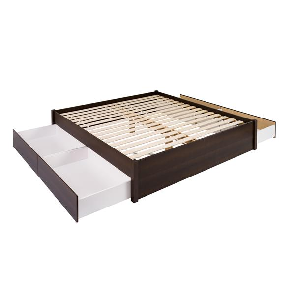 Prepac Select Platform Bed with 4 Drawers - Espresso - King