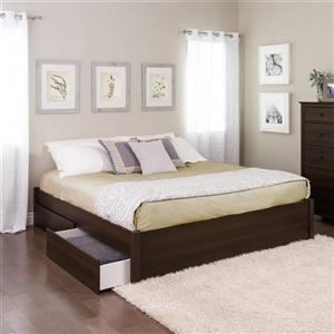 Prepac Select Platform Bed with 2 Drawers - Espresso - King