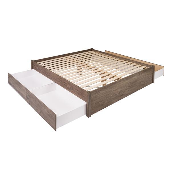 Base très grand lit plateforme quatre tiroirs, gris dérive
