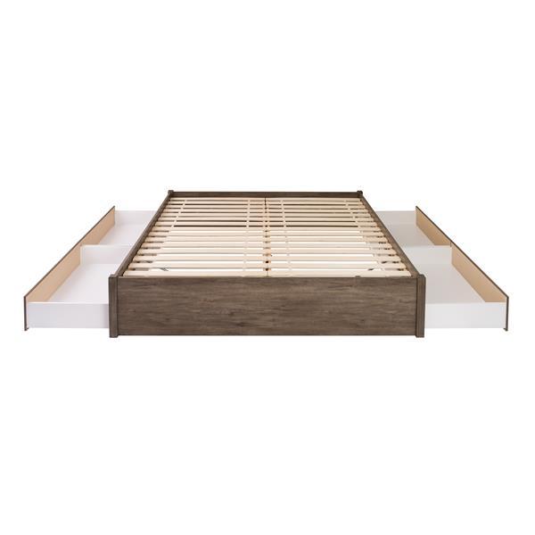Prepac Select 4-Post Platform Bed 4 Drawer - Drifted Gray - King
