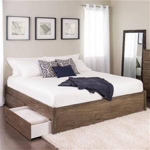 Prepac Select 4-Post Platform Bed 4 Drawer - Drifted Gray - King