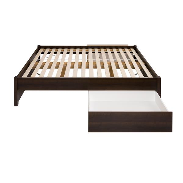 Prepac Select 4-Post Platform Bed with 2 Drawers - Queen - Espresso