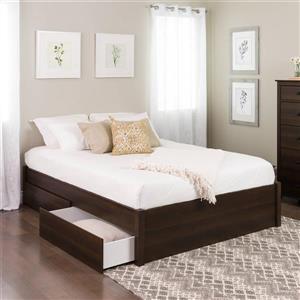 Base de grand lit plateforme avec deux tiroirs, expresso