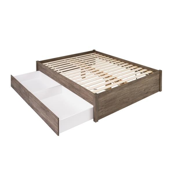Base de grand lit plateforme avec deux tiroirs, gris vieilli