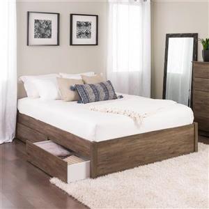 Base de grand lit plateforme quatre tiroirs, gris dérive
