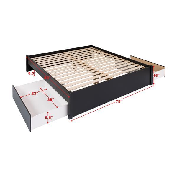 Base de très grand lit plateforme avec deuxtiroirs, noir