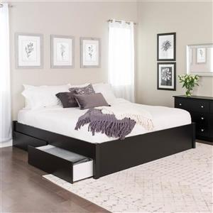 Prepac King Select 4-Post Platform Bed with 4 Drawers, Black